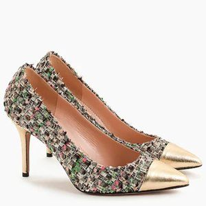 J. Crew Collection NIB Elsie tweed pumps with gold